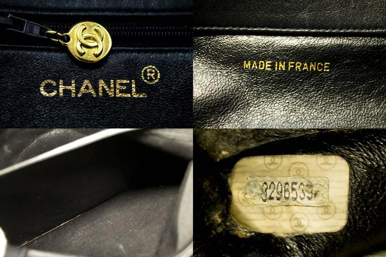 CHANEL Jumbo Large Big Chain Shoulder Bag Black Lambskin Leather  For Sale 3