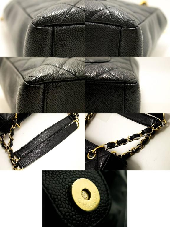 CHANEL Caviar Chain Shoulder Bag Shopping Tote Black Quilted  For Sale 1
