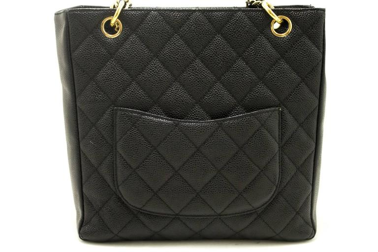 CHANEL Caviar Chain Shoulder Bag Shopping Tote Black Quilted Gold  In Excellent Condition For Sale In Takamatsu-shi, JP