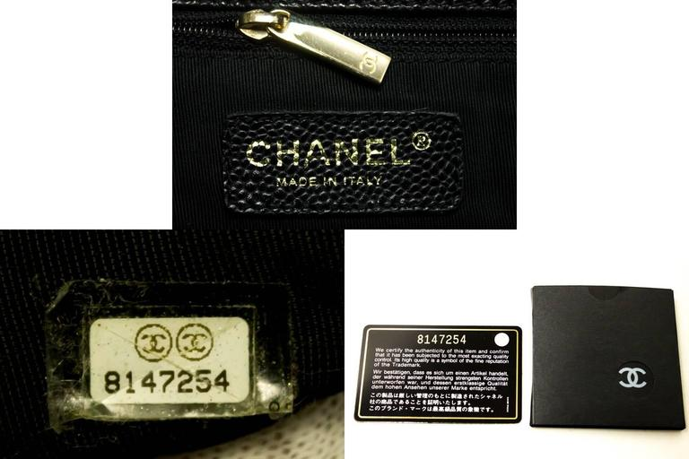 CHANEL Caviar Chain Shoulder Bag Shopping Tote Black Quilted Gold  For Sale 5