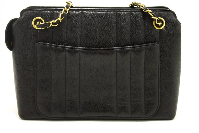 5c7196c69 CHANEL Caviar Sun Gold Chain Shoulder Bag Black Quilted Leather In Good  Condition For Sale In