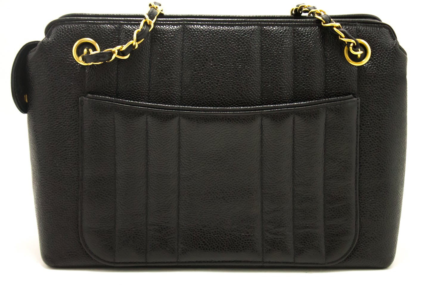 13f4d23343cebc CHANEL Caviar Sun Gold Chain Shoulder Bag Black Quilted Leather at 1stdibs