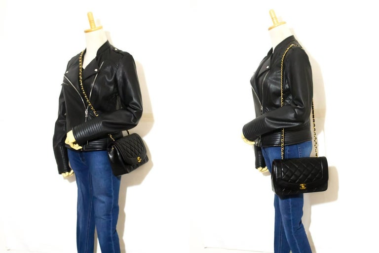 CHANEL Chain Shoulder Bag Crossbody Black Quilted Single Flap Lamb For Sale 2