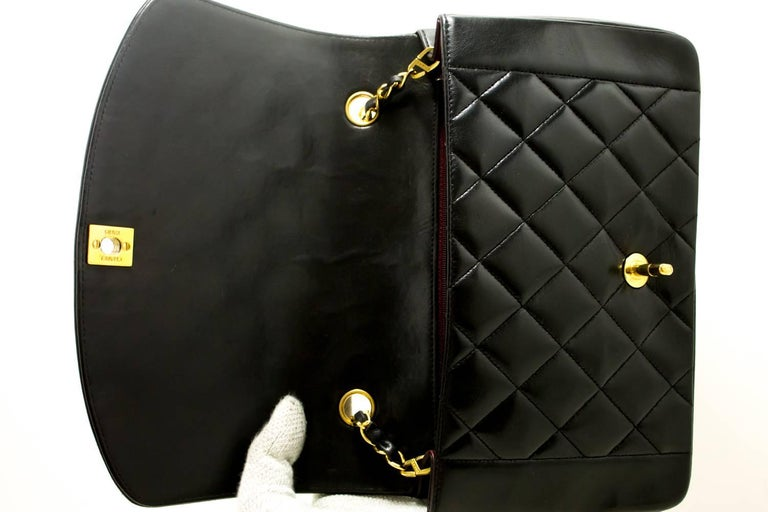 CHANEL Chain Shoulder Bag Crossbody Black Quilted Single Flap Lamb For Sale 6