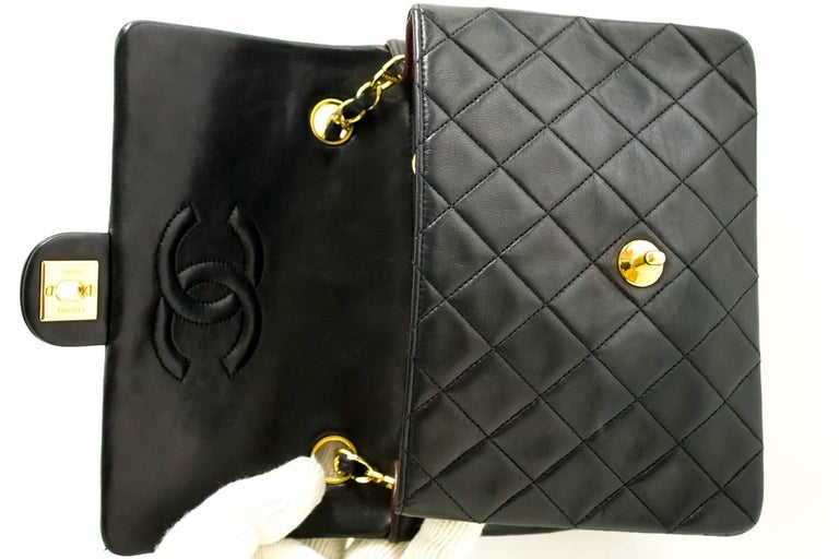 CHANEL Mini Small Chain Shoulder Bag Crossbody Black Quilted Flap For Sale 5