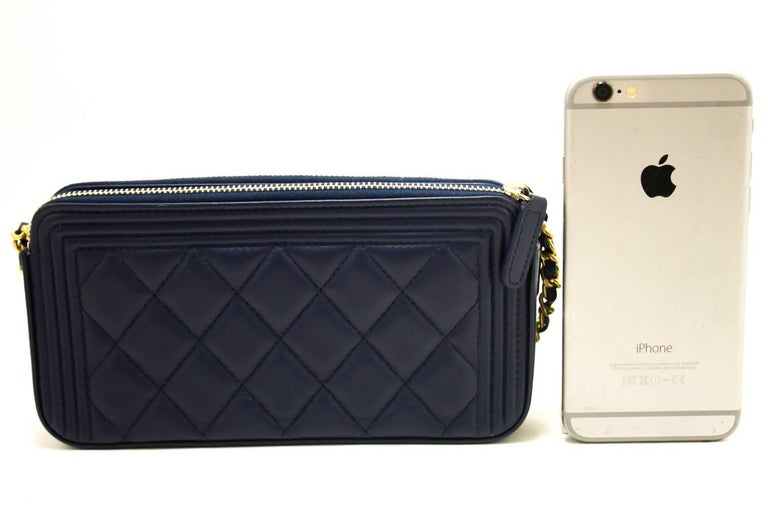 Black Chanel Boy Navy Wallet On Chain WOC Double Zip Lamb Shoulder Bag For  Sale dcd7f94a5