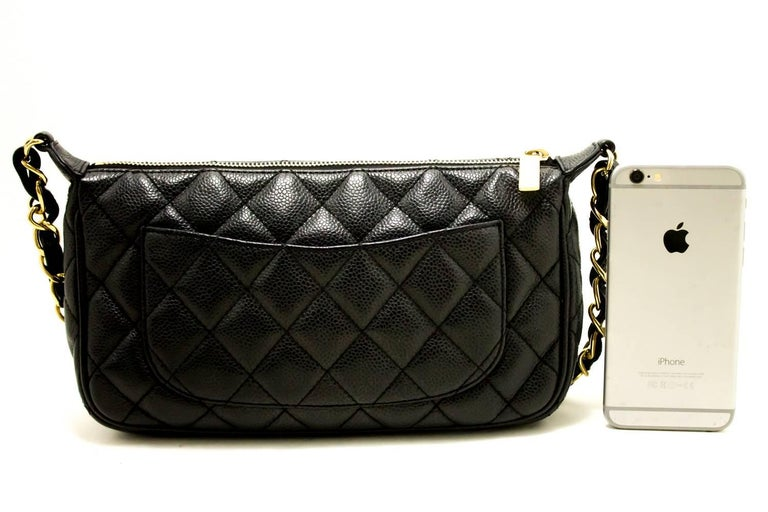 Chanel Caviar Mini Small Chain One Shoulder Bag Black Quilted In Excellent Condition For