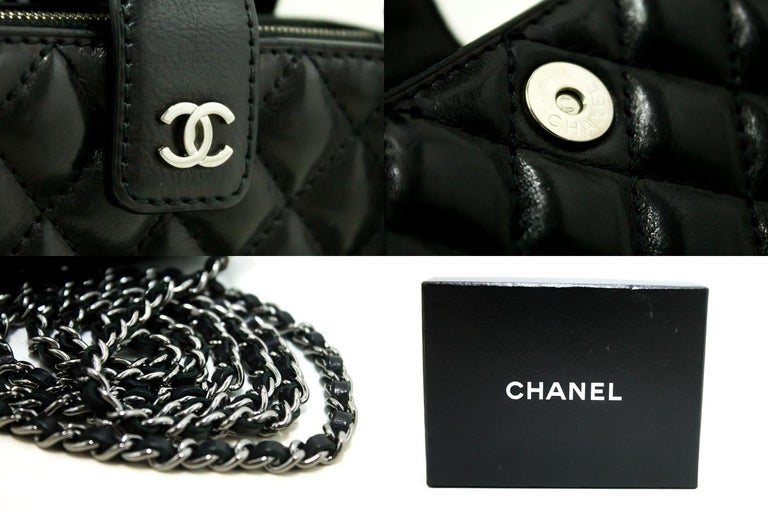 5d83e7e1722a CHANEL Mini Small Chain Shoulder Bag Crossbody Black Quilted Lamb For Sale 4