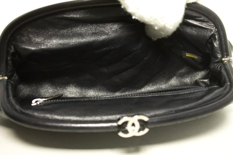 9262ad93bb15 CHANEL Lambskin Timeless Clutch Bag Black Quilted Leather Silver For Sale 5