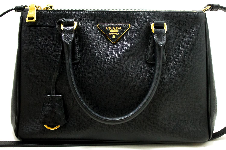 e51fc37c2776 ... clearance an authentic prada saffiano lux 2 way handbag shoulder bag  black leather gold. the