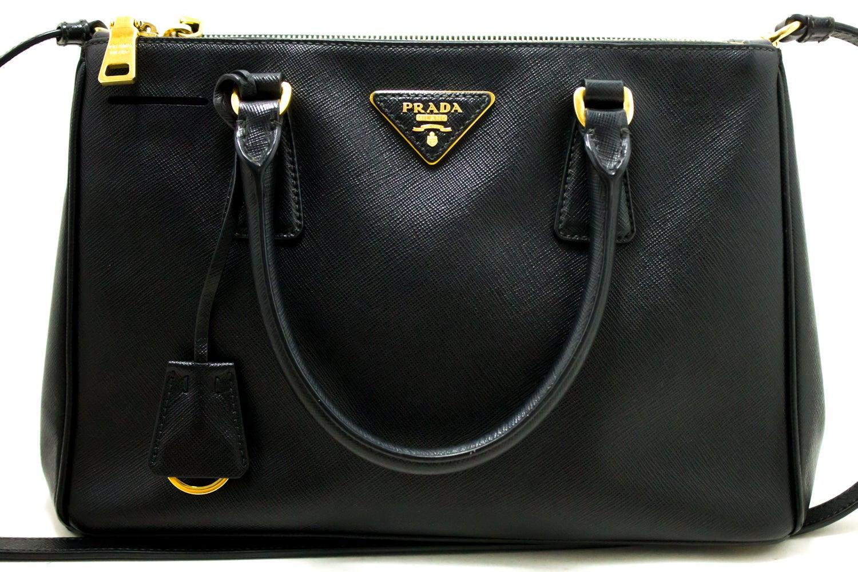7b44b4e940 Prada Saffiano Lux Black Leather Gold 2 Way Handbag Shoulder Bag For Sale  at 1stdibs