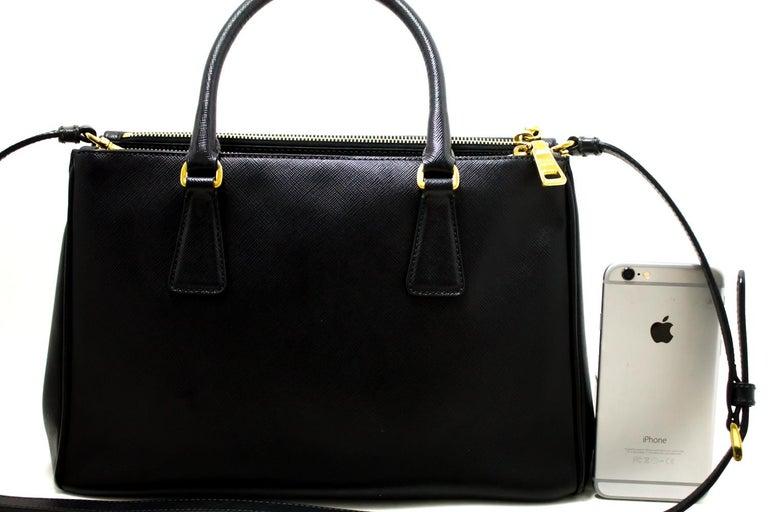 618360ffad Prada Saffiano Lux Black Leather Gold 2 Way Handbag Shoulder Bag In  Excellent Condition For Sale