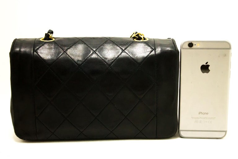 ebcfbbf451f5 Chanel Diana Black Quilted Lamb Chain Flap Shoulder Crossbody Bag In Fair  Condition For Sale In
