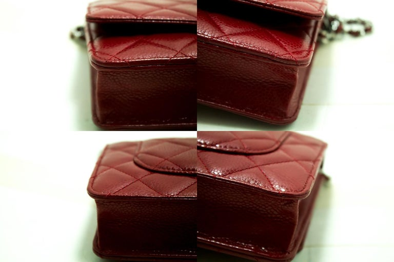 CHANEL Caviar Red WOC Wallet On Chain Shoulder Crossbody Bag For Sale 2