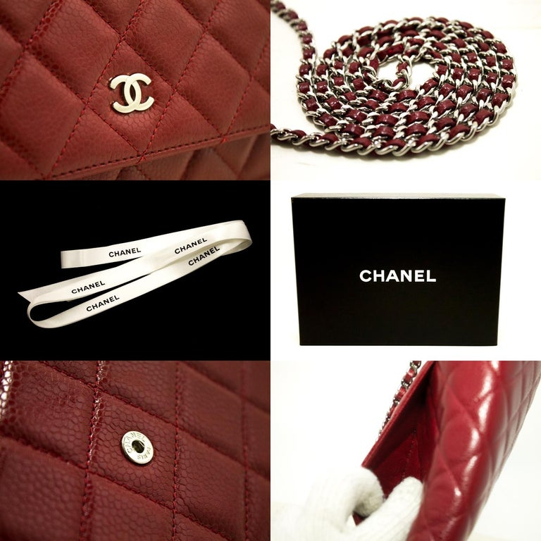CHANEL Caviar Red WOC Wallet On Chain Shoulder Crossbody Bag For Sale 3