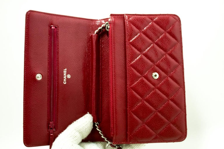 CHANEL Caviar Red WOC Wallet On Chain Shoulder Crossbody Bag For Sale 6