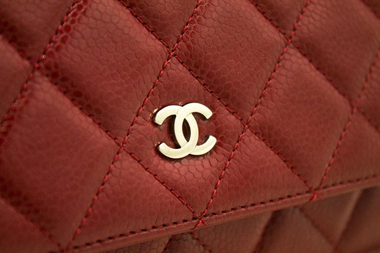 CHANEL Caviar Red WOC Wallet On Chain Shoulder Crossbody Bag For Sale 8