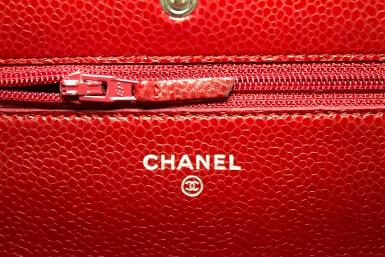 CHANEL Caviar Red WOC Wallet On Chain Shoulder Crossbody Bag For Sale 12