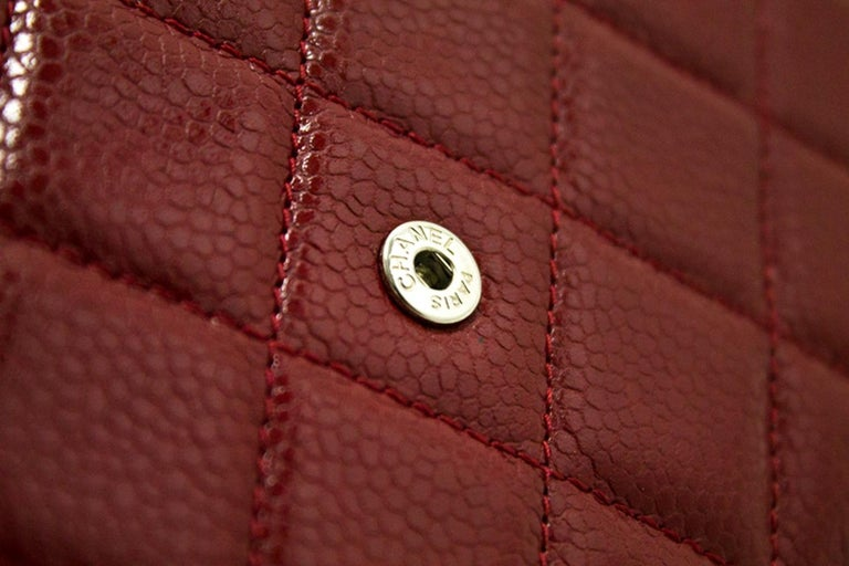 CHANEL Caviar Red WOC Wallet On Chain Shoulder Crossbody Bag For Sale 13