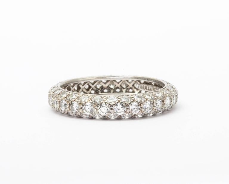 A classic pave diamond Tiffany band set in platinum. Can be worn on its own or  stacked. A rare find. Size 5.5