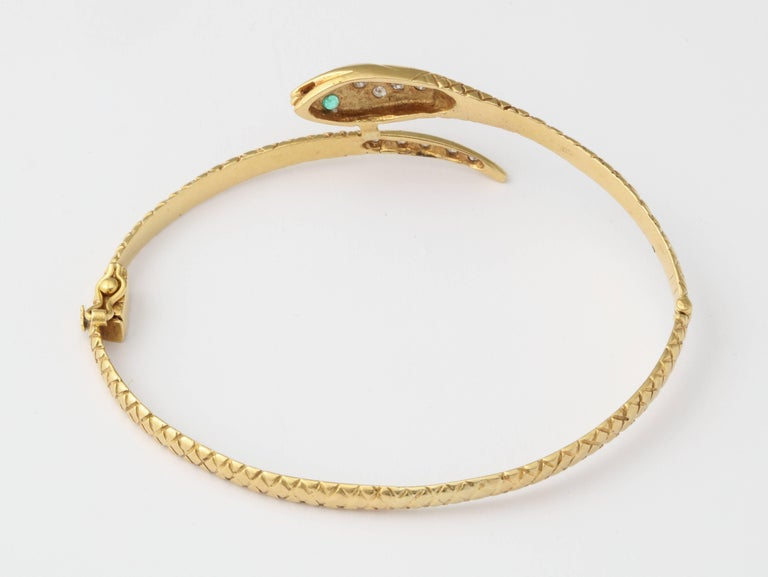 Antique Snake Bracelet with Diamond Head and Emerald Eyes ...