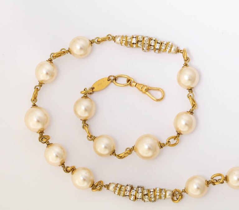 Long Chanel Faux Pearl and Glass Necklace In Excellent Condition For Sale In New York, NY