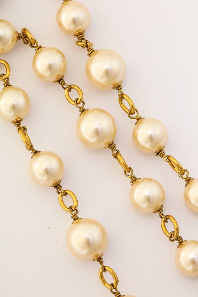Long Chanel Faux Pearl and Glass Necklace For Sale 1