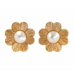 1980's YSL Gold Plated Four Leaf Clover Clip- On Earrings Costume Jewellery