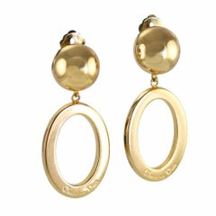 1990s Christian Dior Gold Colour Clip on Earrings with signed Hoop