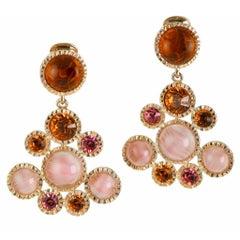 1990s Kenneth J Lane Givre' Glass Topaz Cabochon Pink Swarovski Crystal Earrings