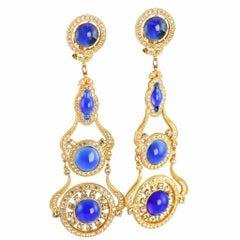 1985 Butler & Wilson Sapphire Blue Gripoix Glass Crystal Rhinestone Earrings