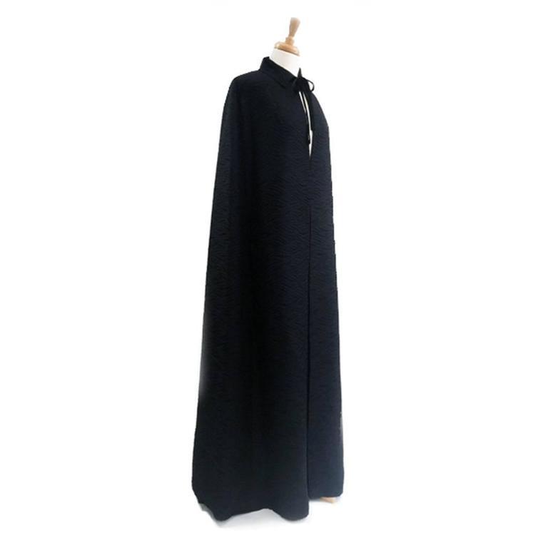 1960's Harrods Black Silk Rayon Cloque' Opera Cloak, Floor Length  2