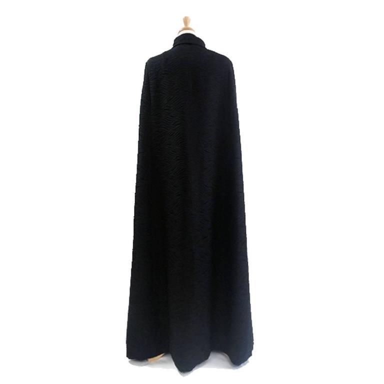 1960's Harrods Black Silk Rayon Cloque' Opera Cloak, Floor Length  3