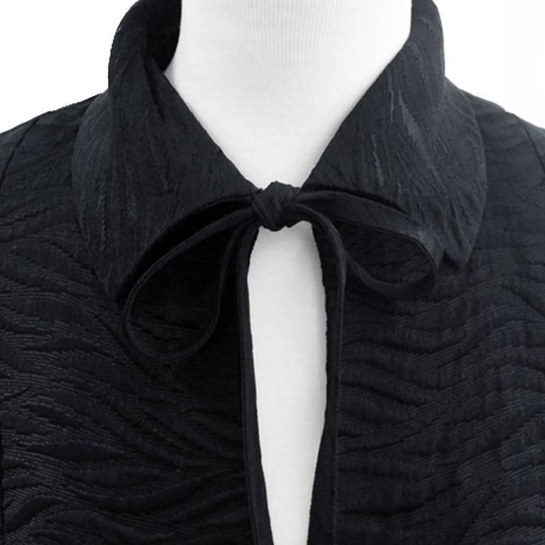 1960's Harrods Black Silk Rayon Cloque' Opera Cloak, Floor Length  4