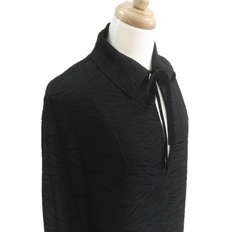 1960's Harrods Black Silk Rayon Cloque' Opera Cloak, Floor Length  5