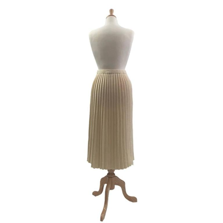 1980s  Wool/Acrylic Cream Courreges Pleated Knitted Skirt 2