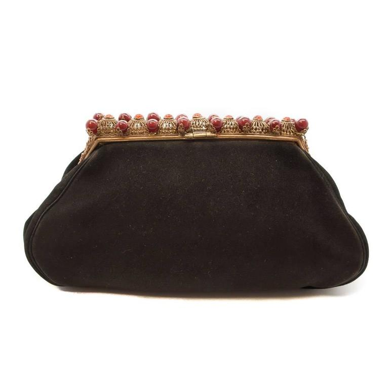 1930s Black Antelope Suede with  Deep Red Glass Bead Encrusted Brass Frame Bag 2