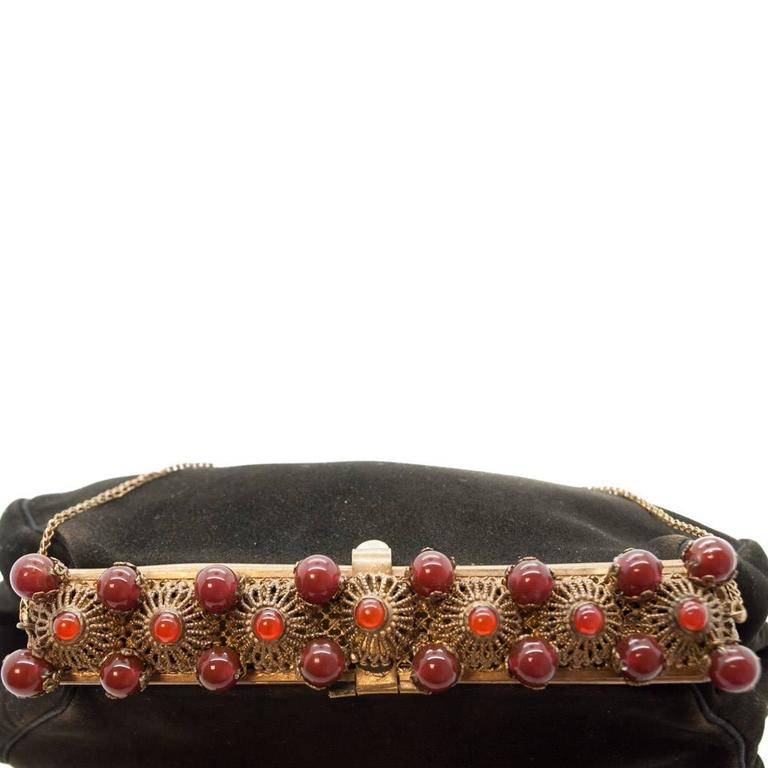 1930s Black Antelope Suede with  Deep Red Glass Bead Encrusted Brass Frame Bag 4