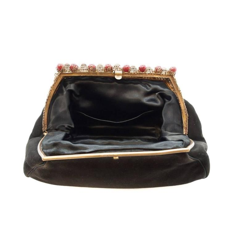1930s Black Antelope Suede with  Deep Red Glass Bead Encrusted Brass Frame Bag 5