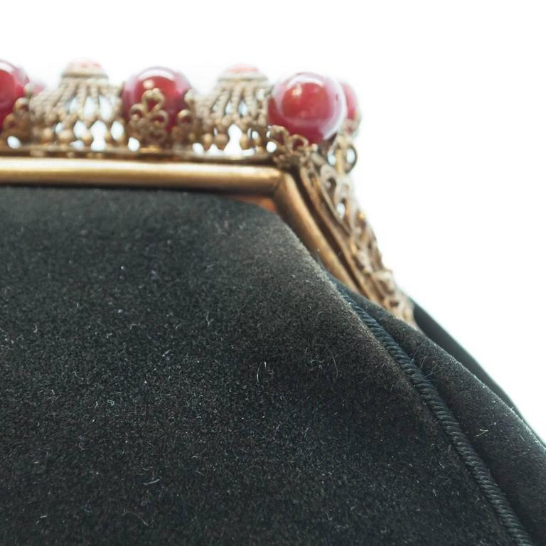 1930s Black Antelope Suede with  Deep Red Glass Bead Encrusted Brass Frame Bag 9