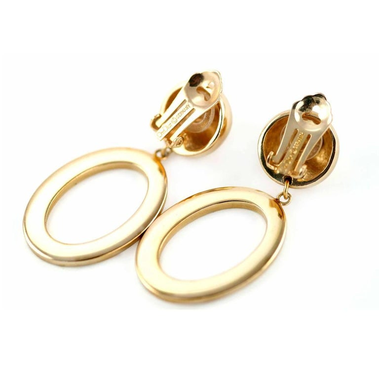 1990s Christian Dior Gold Colour Clip on Earrings with signed Hoop 3