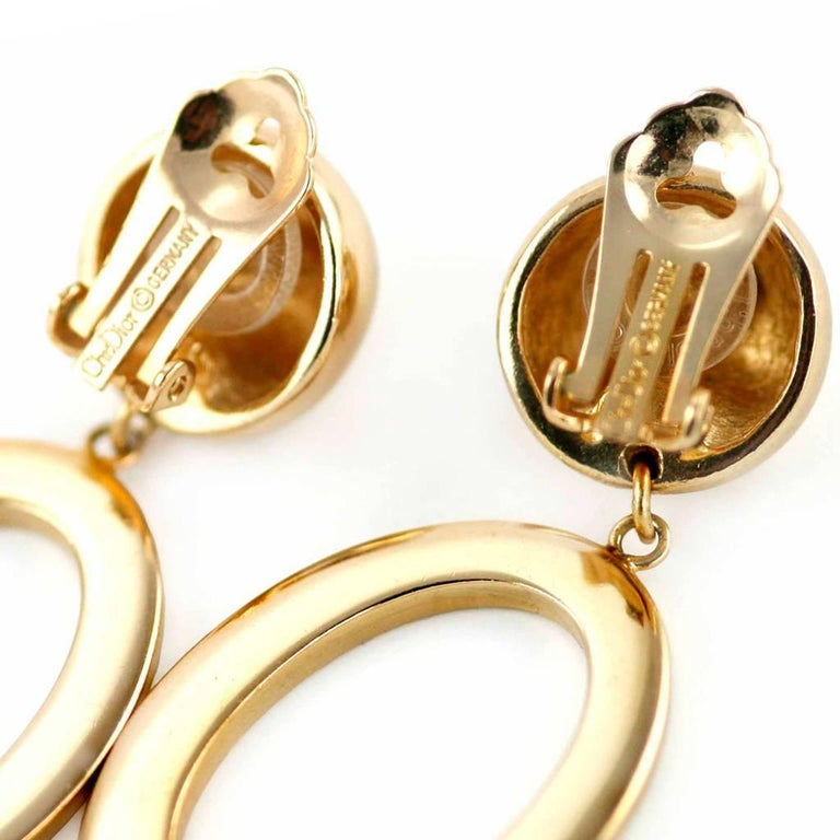 1990s Christian Dior Gold Colour Clip on Earrings with signed Hoop 4