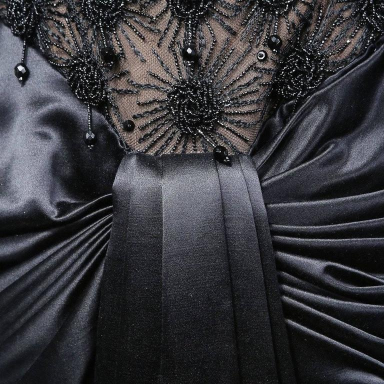 Black Yves Saint Laurent Haute Couture Satin Beaded Gown 1980s
