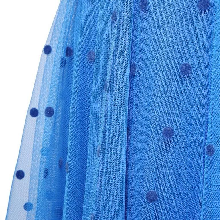 Loris Azzaro Blue Polka Dot Dress with Scarf circa 1970s In Excellent Condition For Sale In Los Angeles, CA