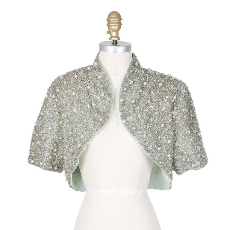 Gray Jacques Fath Embellished Halter Dress with Jacket circa 1980s For Sale