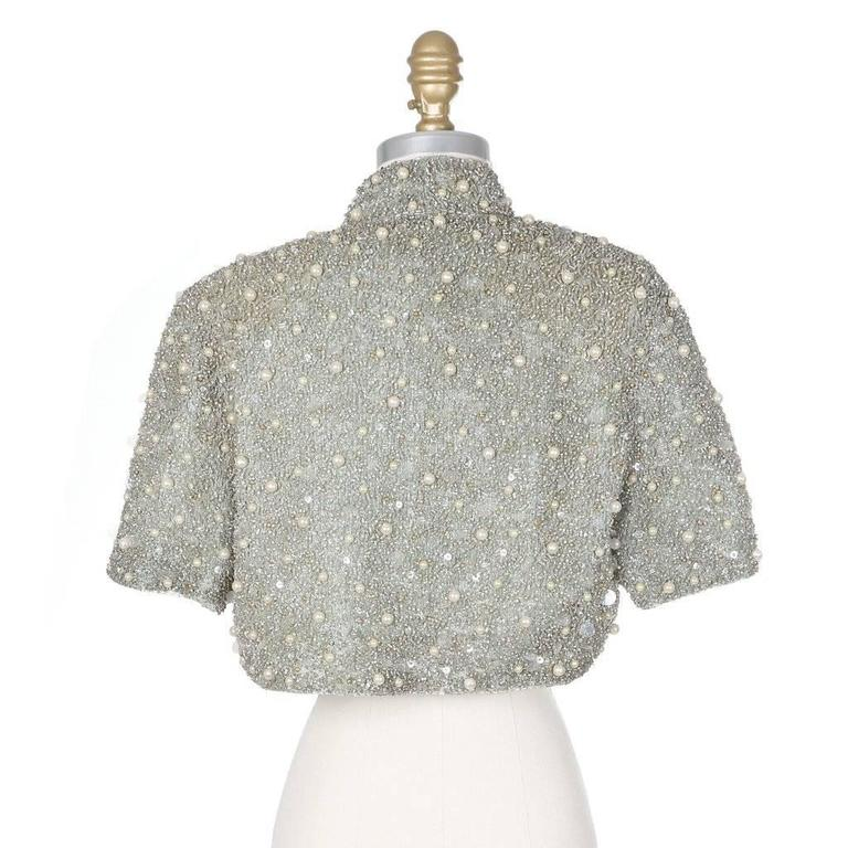 Jacques Fath Embellished Halter Dress with Jacket circa 1980s In Excellent Condition For Sale In Los Angeles, CA