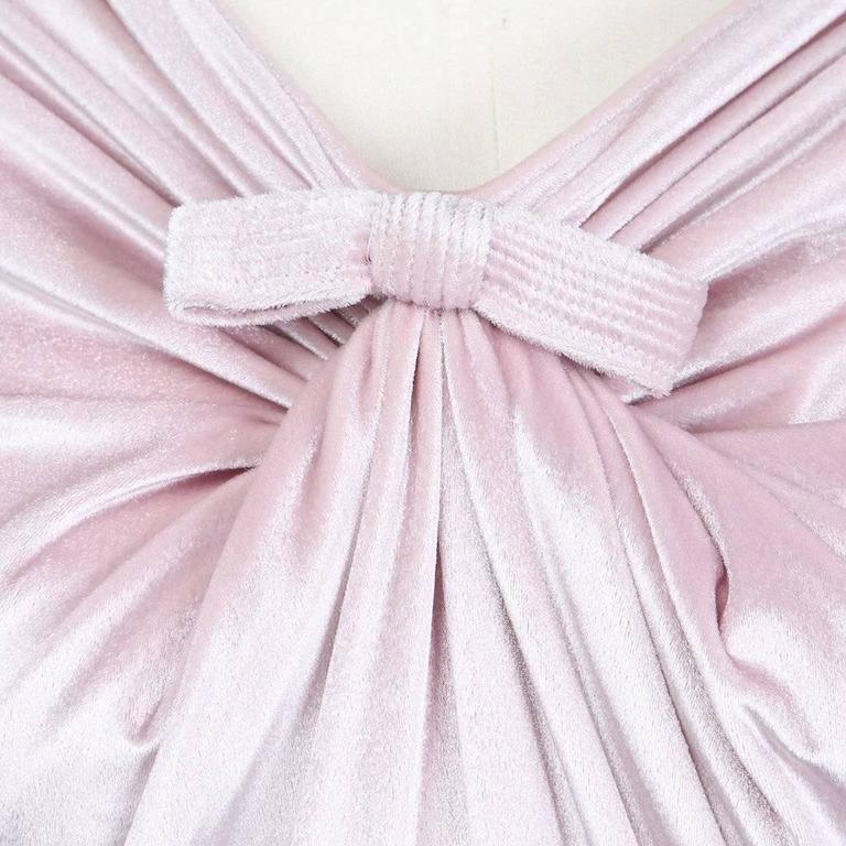 Gray Versace Icy Pink Velvet Dress circa 1990s For Sale