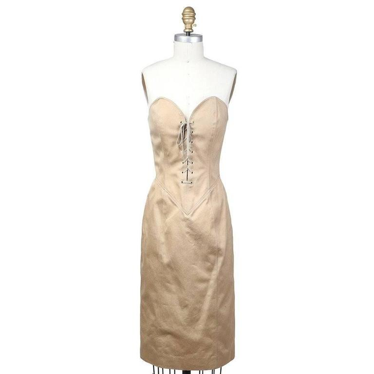 Beige Patrick Kelly Corset Dress With Jacket circa 1980s For Sale
