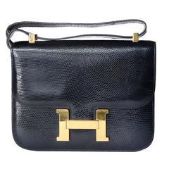 Hermes Constance Lizard Bag in Navy 1978