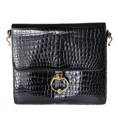 Hermes Black Patent Crocodile Shoulder Bag from 1986